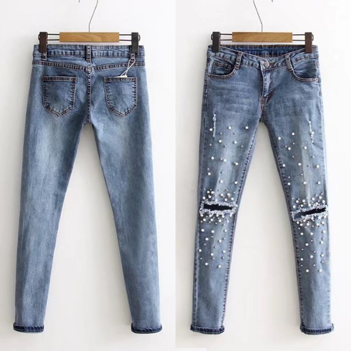 New Fashion Destroyed Ripped Jeans Women Knee Cut Boyfriend Denim Pants Skinny Fit Stretchy Trousers With Pearls