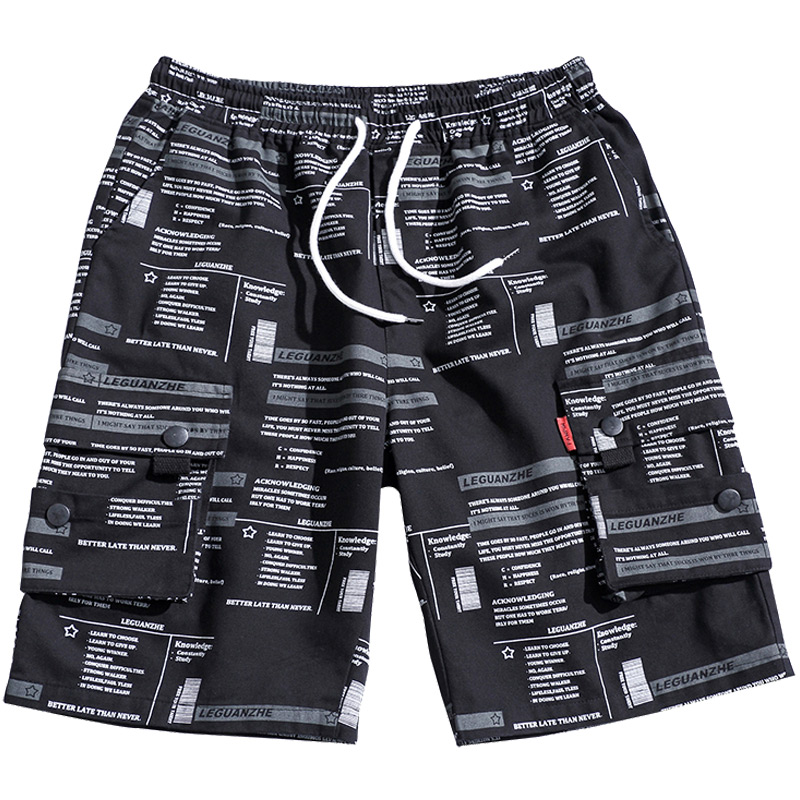Summer Men Casual Shorts Beach Sport Plus Size Men Printed Shorts Loose Cotton With Pockets Bermuda Masculina Half Pant XX60MS