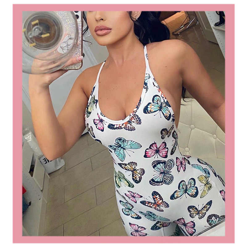 2020 Summer New Women's Rompers White Sexy Backless Hips Print Butterfly  Jumpsuit Tank Top Bodysuit Long Pants Overalls Clothing| | - AliExpress