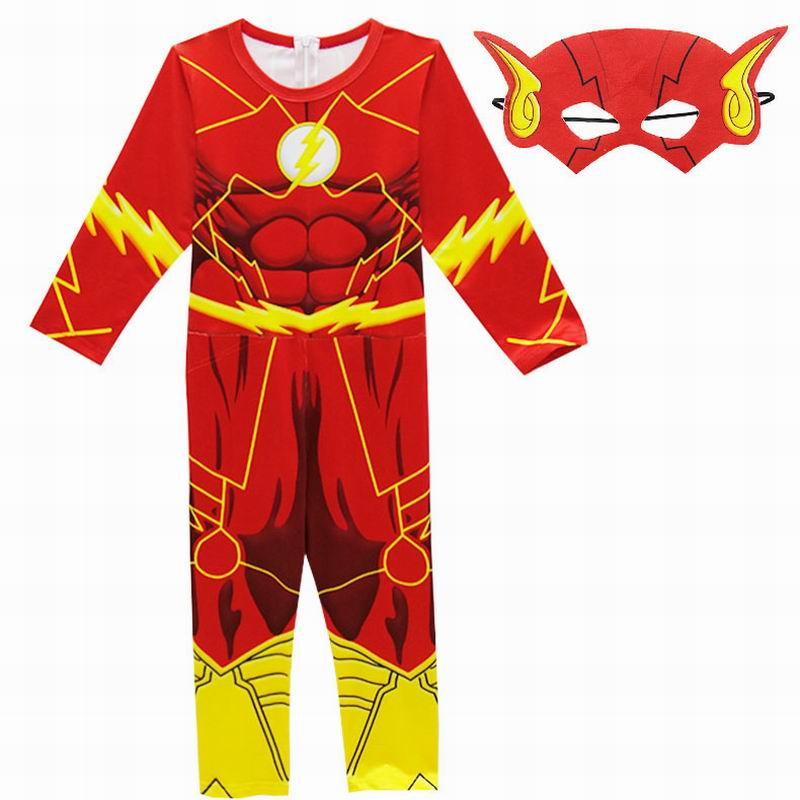 The Flash Boys Clothes Kids Halloween Costumes for Jumpsuits Superhero Children Festive Party Supplies