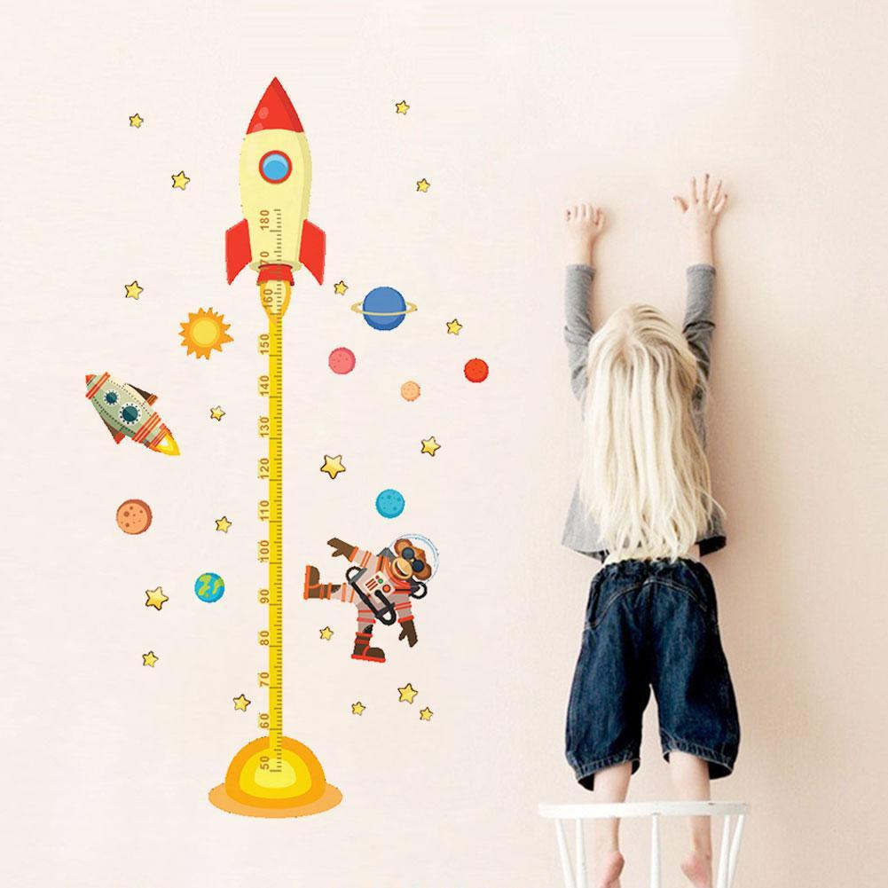 Rocket Home Decal Height Measure Wall Sticker For Kids Room Baby Nursery Growth Chart Outer Space Planet Monkey Pilot