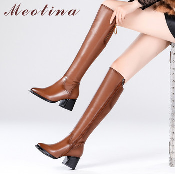 Meotina Winter Over The Knee Boots Women Natural Genuine Leather Thick High Heels Tall Boots Zipper Pointed Toe Shoes Lady 34-42