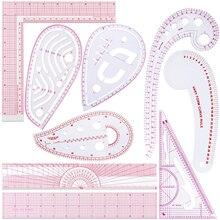 9 peças régua métrica chanfrado transparente régua curva em forma de medida régua ferramentas de costura de plástico diy régua de costura conjunto para costura