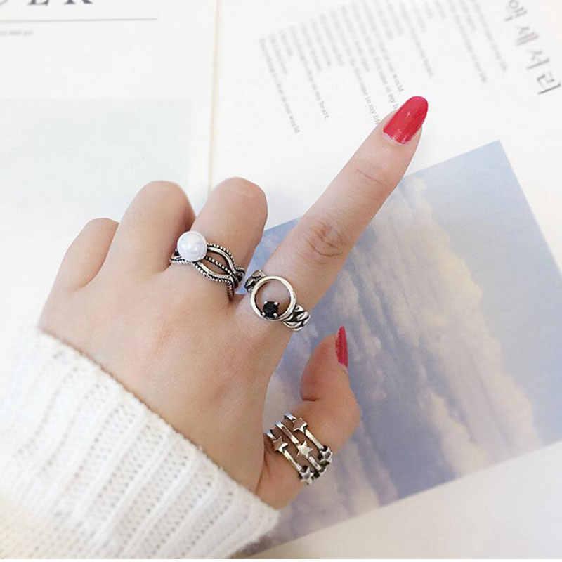 Винтажные 925 пробы серебряные кольца для женщин, тайское серебро, Геометрическая Звезда, регулируемые кольца для женщин, свадебные ювелирные изделия, S-R281