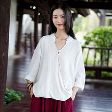 Aransue 2010 spring cotton and linen women tops long sleeve new national style v