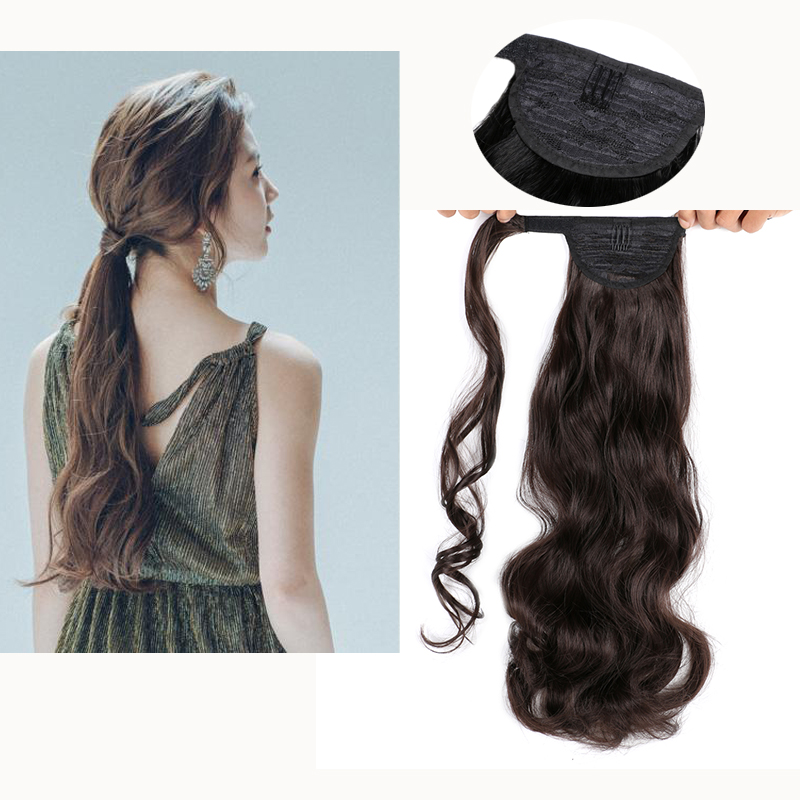 Synthetic Band Ponytail Extension Clip Wig Natural Swing Clip In Wave Hair Extension