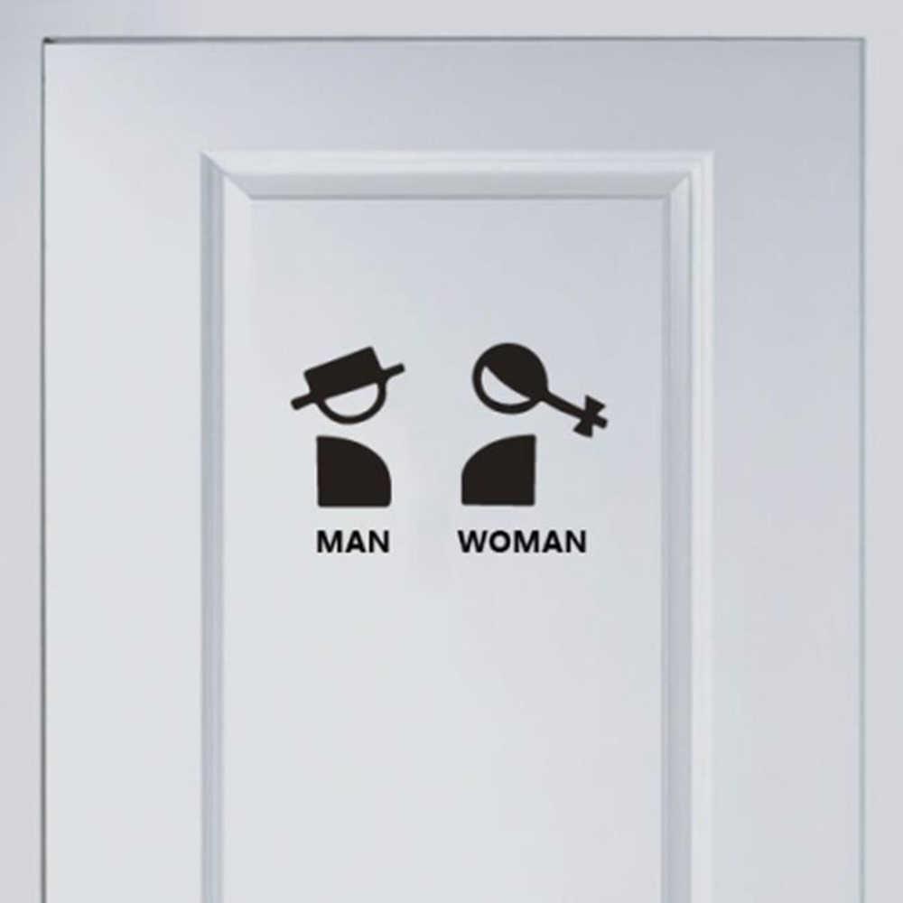 1 ud. Pegatinas de diseño divertido creativo impermeable para el baño letrero de WC público pegatinas para mujer Puerta de baño ornamento decoración del hogar