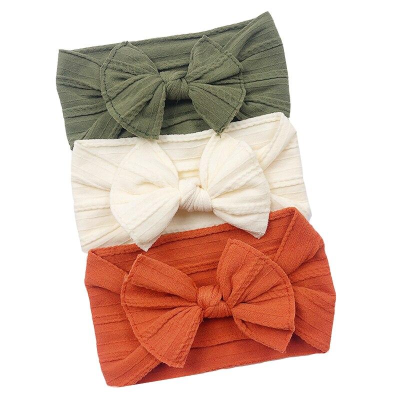 Set de 3 unidades de cinta de pelo de bebé para niñas, diademas elásticas con lazo, Diseño de Cable trenzado, turbante para niños, accesorios para el pelo de bebé