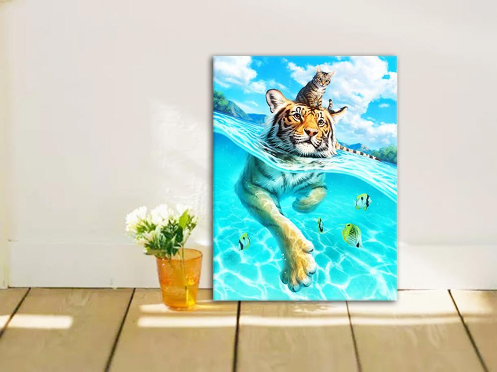 Цифровая живопись «сделай сам» тигр и кот цифровая акриловая
