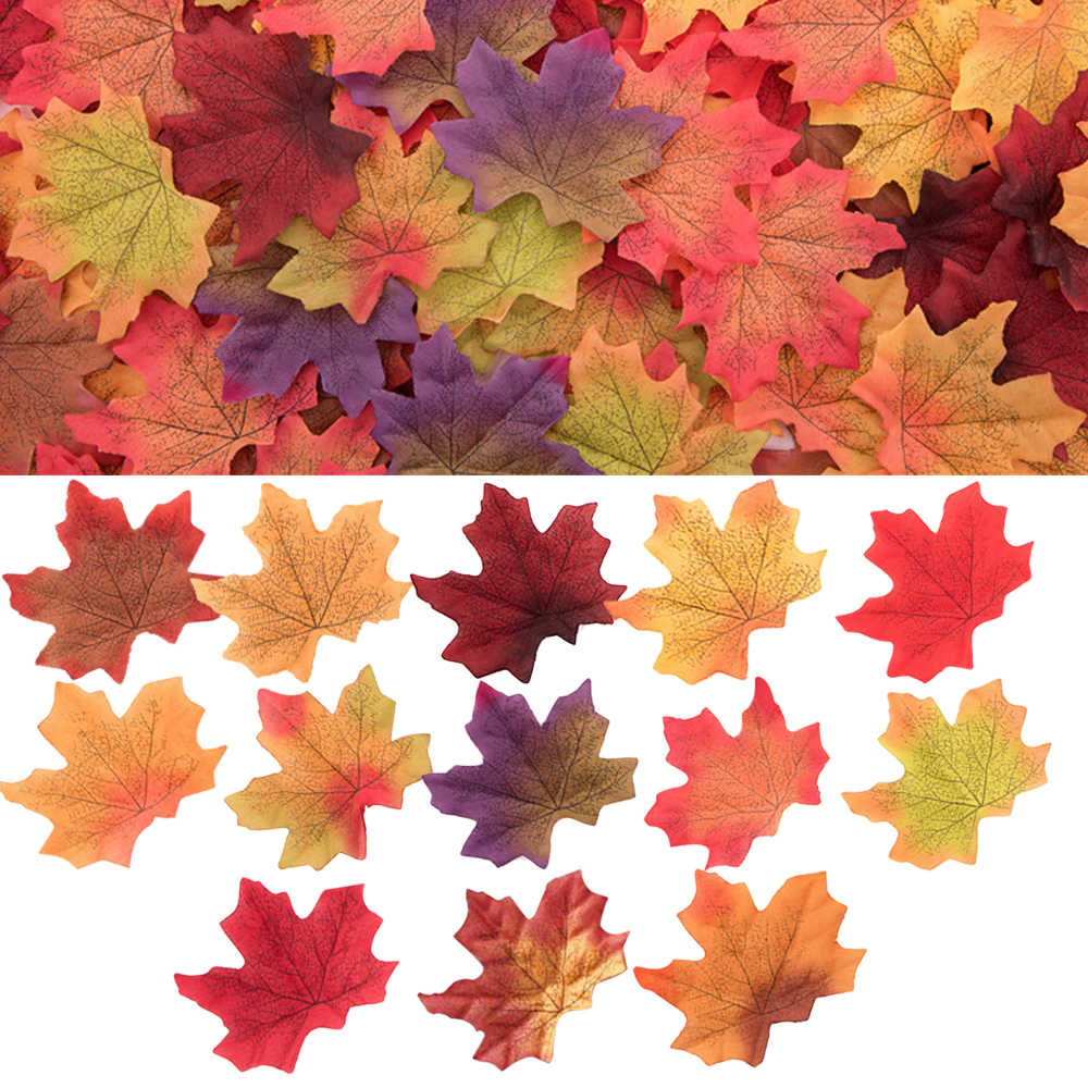 Home Decor Assorted Mixed Fall Colored Artificial Maple Leaves For Weddings Events And Decorating 2020 New Year Decor 50Pcs/Bag