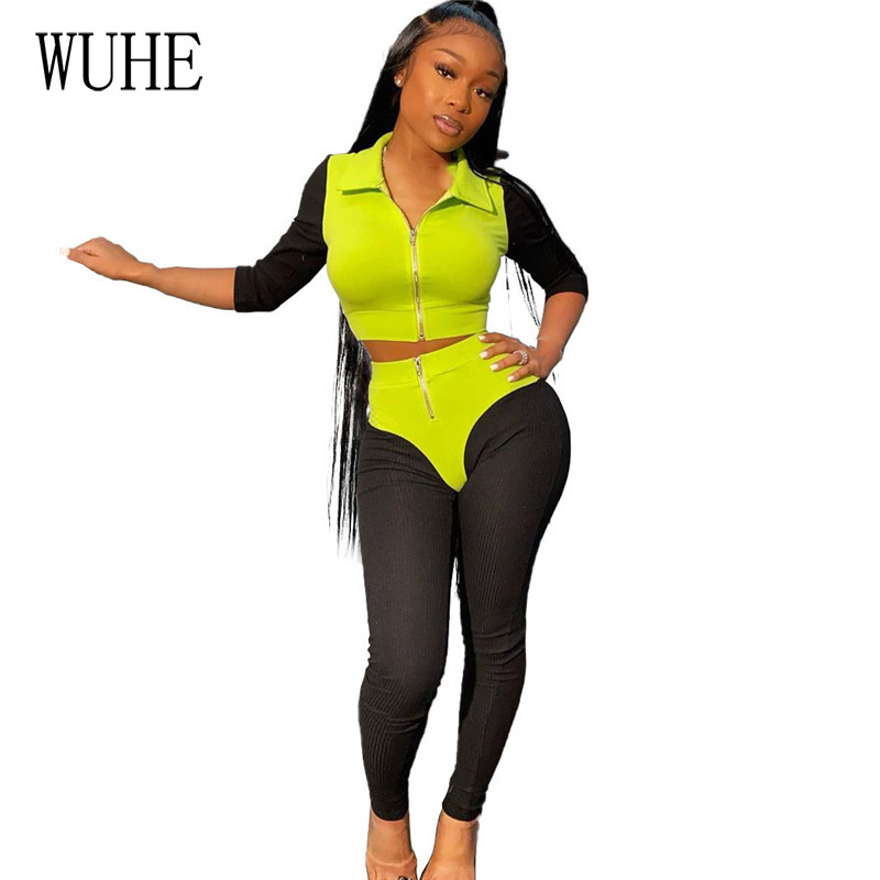 WUHE Knitted Ribbed Elastic Fitness Tracksuit Two Pieces Sets Patchwork Jacket Top Slim Leggings Sexy Club Outfits Matching Sets