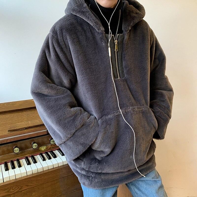 Winter Dikke Hoodie mannen Warme Mode Effen Kleur Pluche Hooded Sweatshirt Man Streetwear Wilde Hip Hop Losse Hoodies Mannen hoody