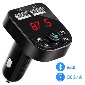 FM Transmitter Bluetooth 5.0 Wireless Car Audio Radio Adapter MP3 Player with Mic QC3.1A USB Charging Ports Flash Drive TF Card