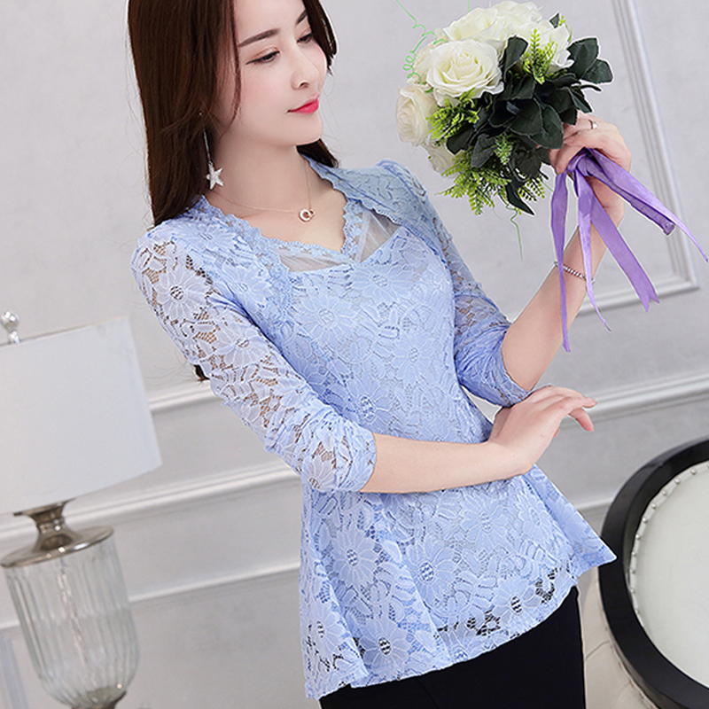 Lace Women Clothing Camisas Mujer Lace Shirt Tops Sexy Slim Fit Elasticity Plus Size Female Long-sleeve Lace Blouse Shirts 117F