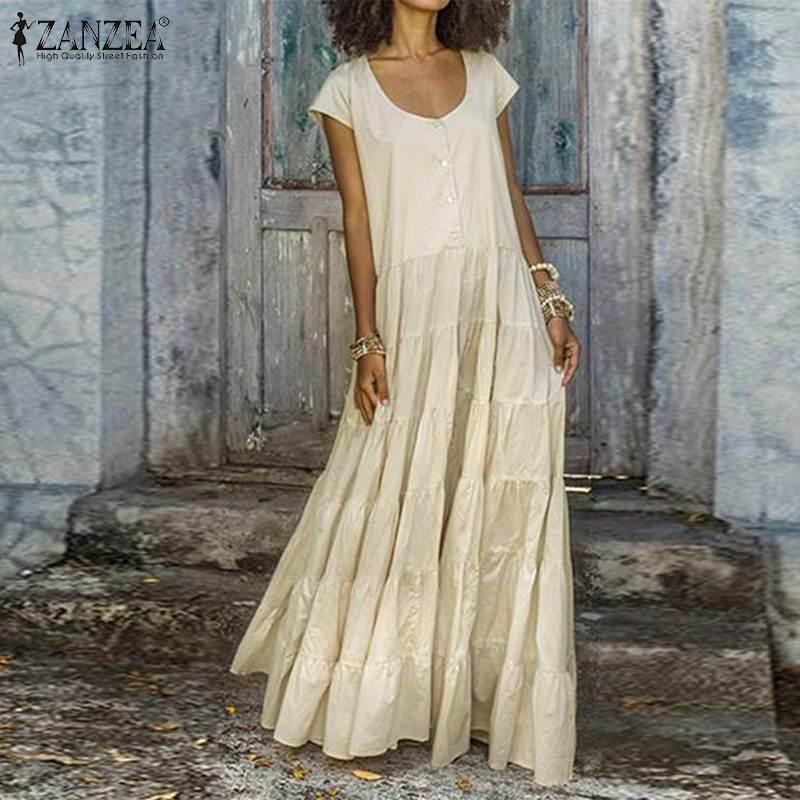 2019 Plus Size ZANZEA Summer Dress Women Casual Solid O Neck Short Sleeve Cotton Party Pleated Long Maxi Sundress Vestido Female