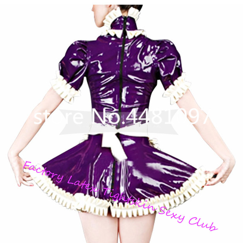 Latex Lolita lacé robes avec tablier Cosplay robe Sexy femme de chambre Costumes Plug taille sur mesure sexy halloween costume - 2
