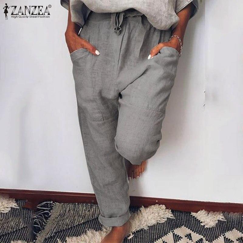 Casual Harem Pants Women's Autumn Trousers 2019 ZANZEA Vintage Lace-Up Elastic Waist Pants Female Pantalon Palazzo Plus Size