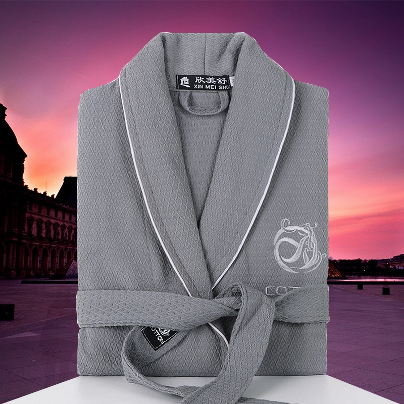Men Bathrobe 100% Cotton Lounge Sleepwear Nightwear For Men Comfort Bathrobes Noble Dressing Gown Men's Sleep Robes Summer White