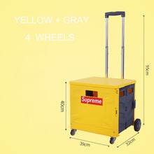 купить E-FOUR Folding Luggage Cart Stainless Steel Hand Truck with Wheels Collapsible and Portable Fold Up Dolly for Travel Office Use дешево