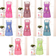Cooking Apron Kitchen Adults Women Cloth Cleaning Double-Pocket Sleeveless Cartoon Household