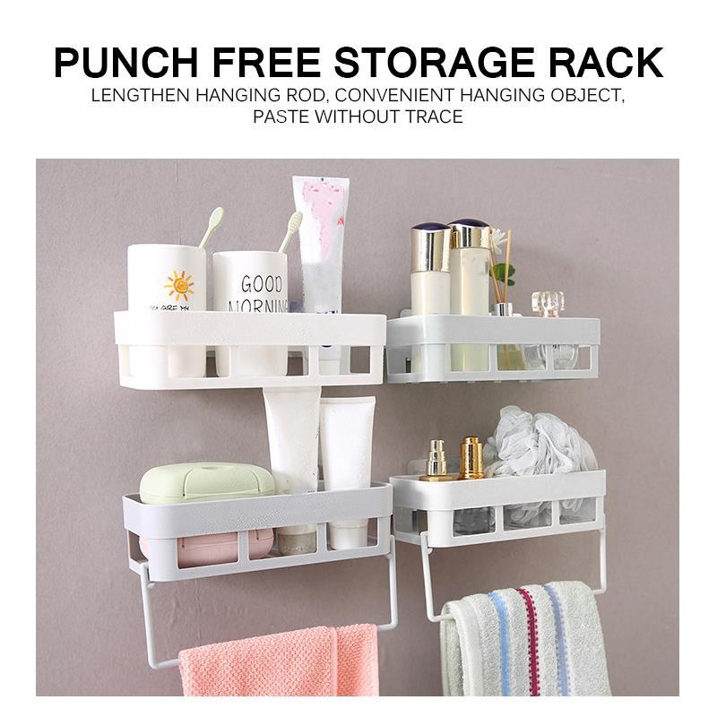 Permalink to Punch-Free Bathroom Shelf Plastic Toilet Bathroom Vanity Wall Hanging Bathroom Storage Rack Basket Cosmetics Organizer Rack