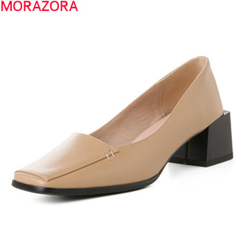 MORAZORA 2020 big size 33-43 fashion women pumps square heels solid color summer ladies shoes genuine leather dress shoes