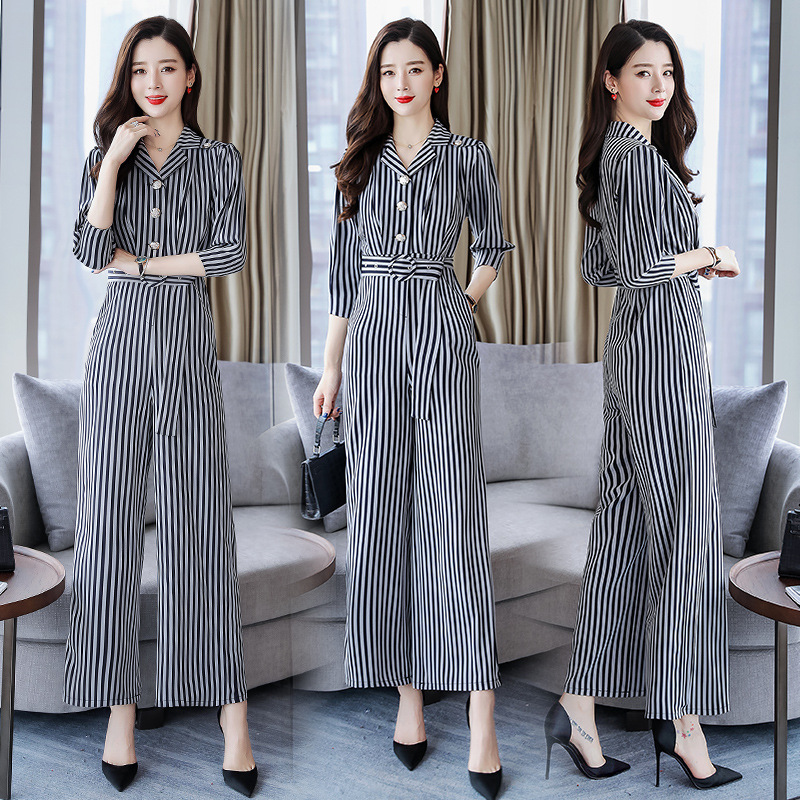 2019 Spring Fashion Stripes Wide-Leg Onesie WOMEN'S Suit Korean-style Slimming Xia Yang Gas Royal Sister Online Celebrity Early