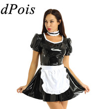 Women Sexy French Maid Servant Role Playing Costume Shiny Babydoll Fancy Dress Lingerie Erotic Cosplay Princess Uniform Aprons
