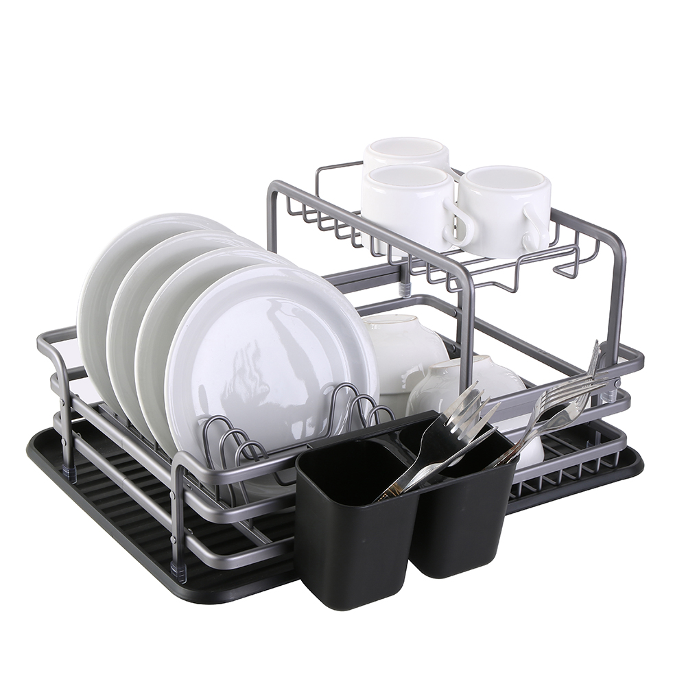 Stainless Aluminium Dish Drying Rack Kitchen Organizer Drainer Plate Holder Cutlery Storage Shelf Sink Accessories Container