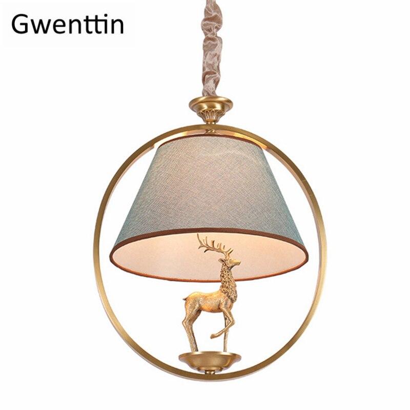 Copper Deer Pendant Lights American Country Retro Loft Industrial Hanging Lamps for Bedroom Home Decor Modern Led Light Fixtures|Pendant Lights|   - title=