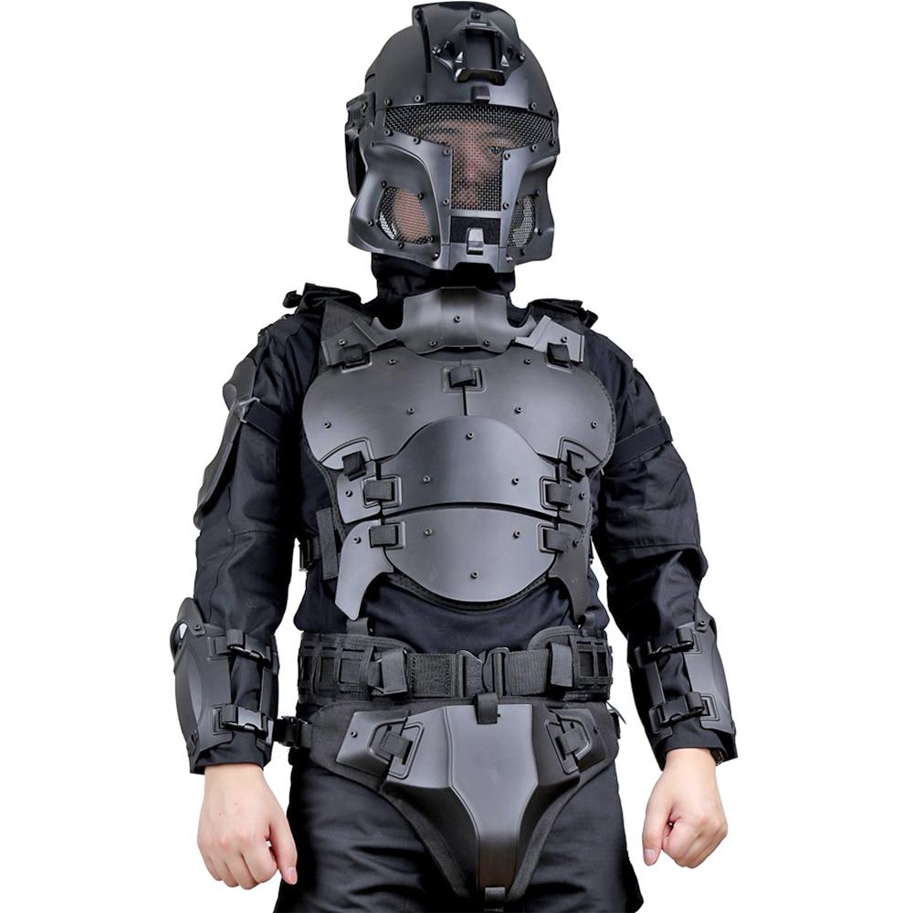 Tactical Armor Vest Protect Chest Elbow Waist Belt Helmet Protective Suit