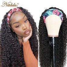 Игрока Nadula вьющиеся парик с головной повязкой человеческие волосы длинные вьющиеся парики из натуральных волос с Африканской структурой, с...