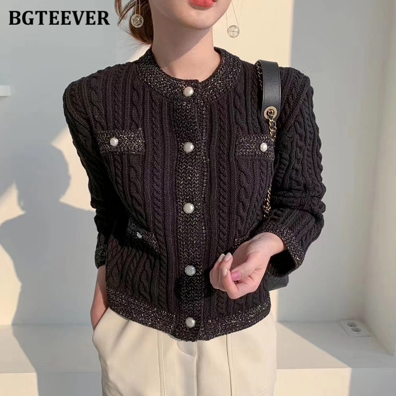 BGTEEVER Elegant Women O neck Knitted Cardigans Single breasted Slim Twisted Sweater Female 2020 Autumn O neck Outwear Tops