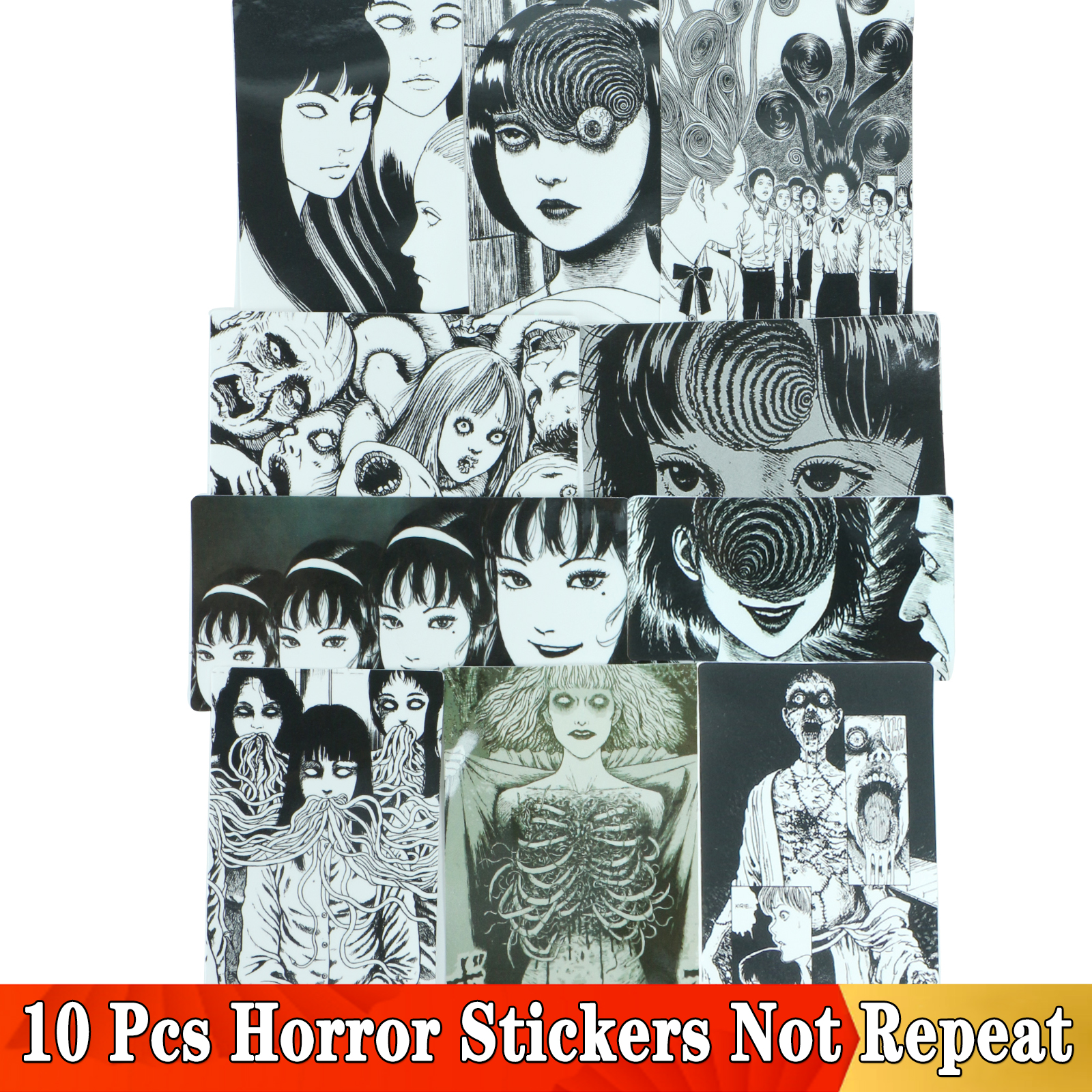 10 Pcs Horror Comic Sticker Junji Ito Fujiang Tomie Black And White Japan Anime For Snowboard Laptop Luggage Car Fridge Stickers