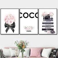 Coco flor Perfume libro de moda pintura de maquillaje póster e impresión arte de pared imagen moderna chica mujer decoración de habitación