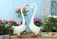 2pcs/lot,American country retro wrought iron couple white swan ornaments balcony garden courtyard outdoor gardening decoration