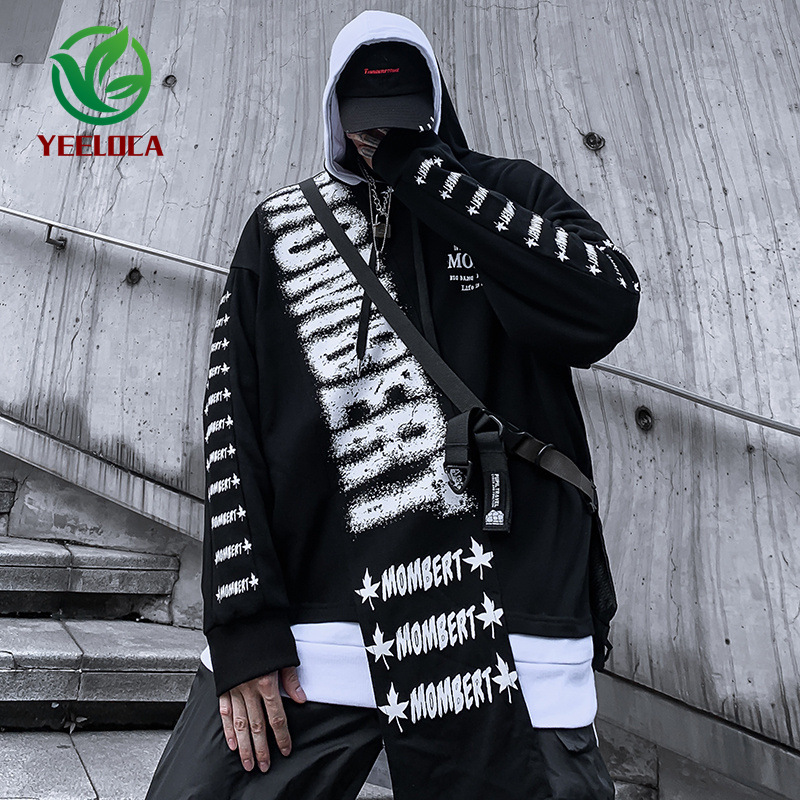 2019 Dropshipping Oversized Personality Men Casual Autumn Winter Hip Hop Black and White Stitching  Sweatshirt Rock StreetHoodie-in Hoodies & Sweatshirts from Men's Clothing on AliExpress - 11.11_Double 11_Singles' Day 1