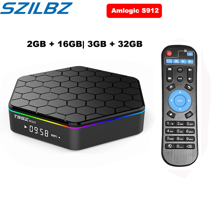SZILBZ T95Z Plus Smart TV BOX 2GB/16GB 3GB/32GB Amlogic S912 Octa Core Android 7.1 TV BOX 2.4G/5GHz WiFi BT4.0 4K Set Top Box
