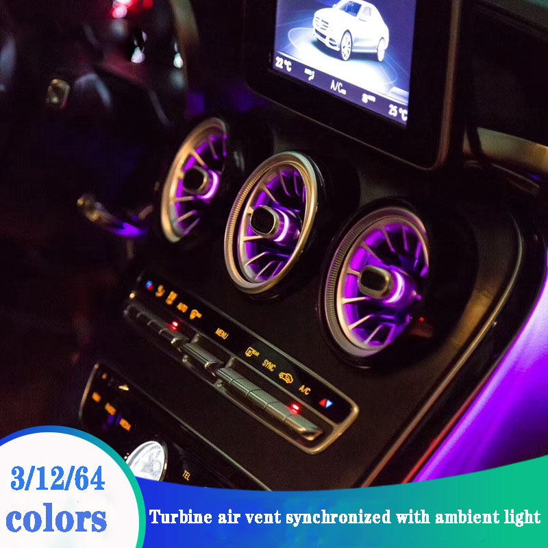 For Mercedes C Class W205 C200 C180 Turbine Air Vent LED Air Condition Vent With Ambient Light Vent 3/12/64 Colors