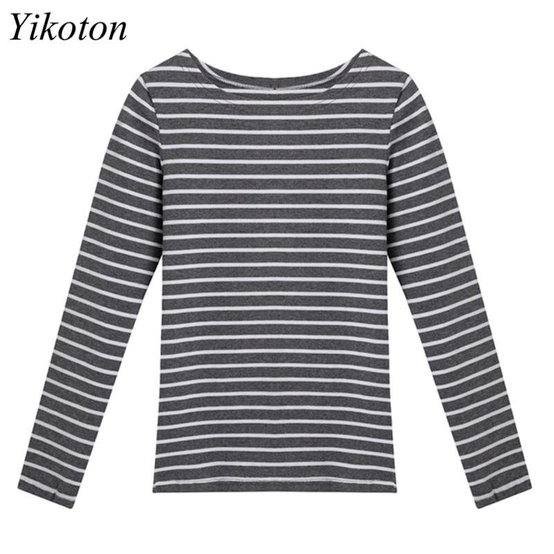 Long Sleeve Basic T Shirt Female Women's Black White Striped Plus Size 5XL Tshirt Cotton 2021 Spring Autumn Tee Shirt Ladies Top 5