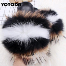Hot Sale Fluffy Real Fox Fur Slides Women Fur Slippers Woman Raccoon Fur Sandals Indoor Female Fur Flip Flops Plush Home Shoes(China)