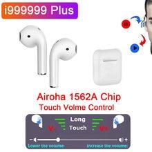 I999999 plus tws sem fio bluetooth fone de ouvido toque controle volume sensor luz 12d super bass fones airoha 1562a pk i99999 tws