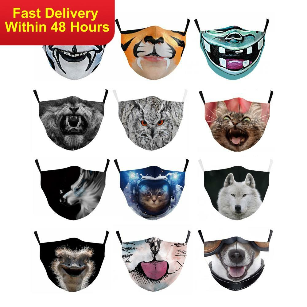 Zawaland Dustproof Mouth Face Mask Cute Cartoon Animals 3D Printed Anti Dust PM2.5  Kids Cartoon Breathable Protection Masks