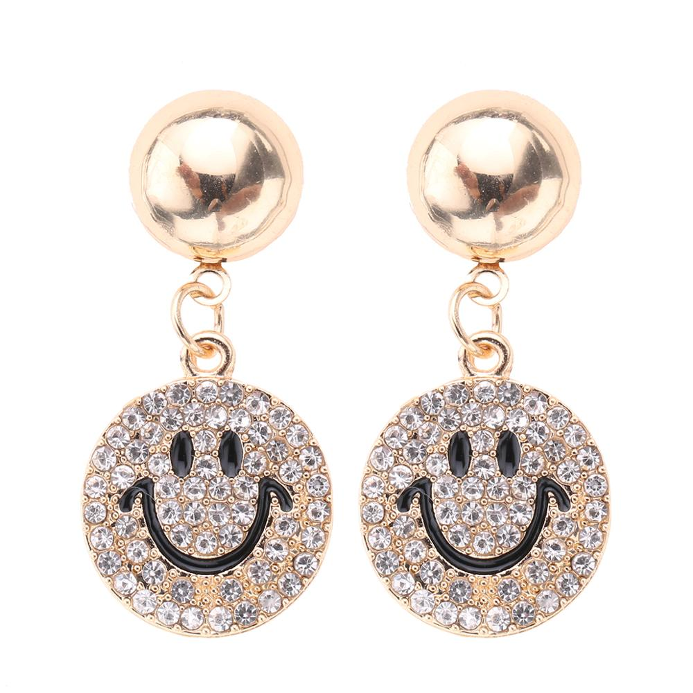CARTER LISA 2019 Smile Emoticons Statement Clear Rhinestone Earrings Jewelry Full Crystal Drop Dangle Earrings Women HDEA-096