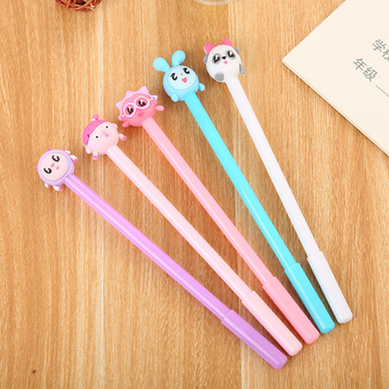1pcs  Five Baby Gel Pens 0.5mm  Kawaii Pen Student Cute  Cute Pens Novelty Stationery Black Writing Pen  Kawaii School Supplies