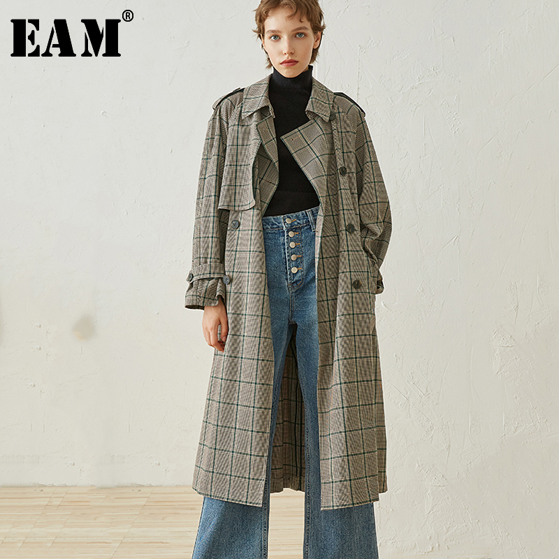 [EAM] 2019 New Spring Lapel Long Sleeve Green Loose Plaid Loose Large Size Long Windbreaker Women Coat Fashion Tide JH755