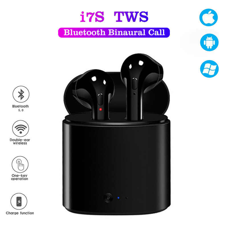 I7s TWS Headphone Nirkabel 5.0 Bluetooth Earphone Earbud Sport Handsfree Headset dengan Pengisian Kotak untuk Xiaomi iPhone Android