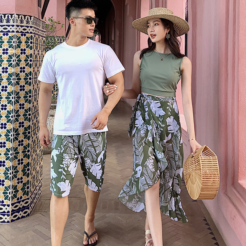 2020 Couple Set New Island Holiday Beach Mesh Belly Covering Conservative Swimwear Three Piece Set