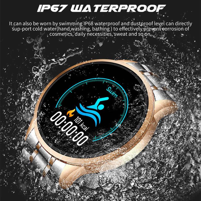 LIGE nouvelle montre intelligente en acier hommes sport étanche pour iPhone fréquence cardiaque pression artérielle Information d'appel smartwatch Fitness tracker