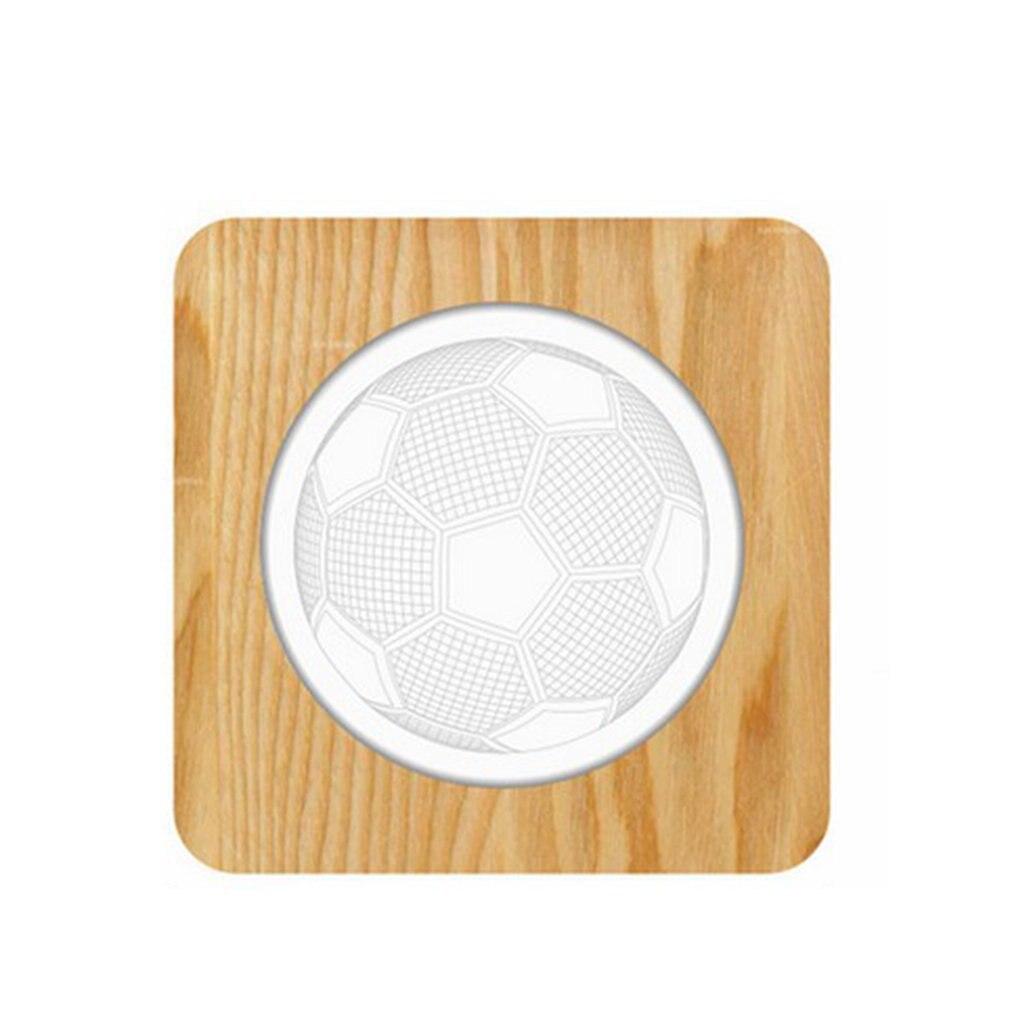 Soccer Wood Acrylic Creative Night Lights Solid Wood Creative Table Lamps 3D Lights Led Wooden Decorative Table Lamp